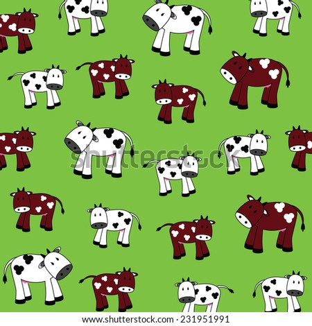 illustration of cute cows on a green background - stock photo