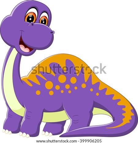illustration of Cute dinosaur cartoon - stock photo