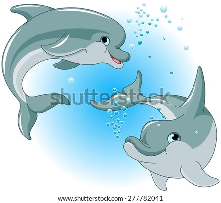 Illustration of cute Dolphins couple - stock photo