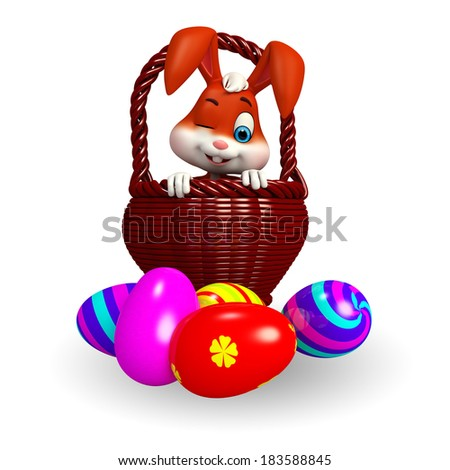 Illustration of Cute Easter Bunny eggs basket - stock photo