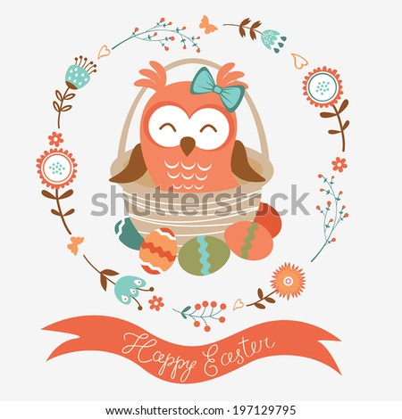Illustration of cute Easter owl - stock photo