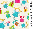 Illustration of cute, hand drawn style background with cute angels and gift boxes - stock photo