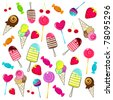 Illustration of cute, hand drawn style retro candies background - stock photo