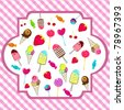 Illustration of cute, hand drawn style retro candies background - stock vector
