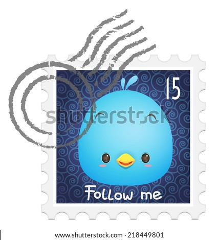 Illustration of cute kawaii blue bird on the stamp / postage