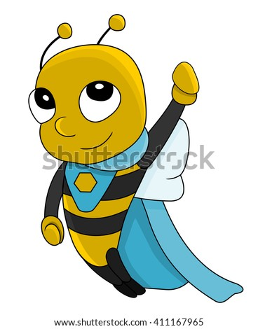 Illustration of cute little super hero bee, isolated on a white background