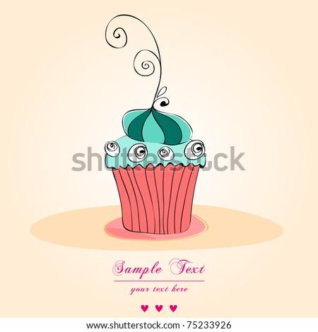 Illustration of cute retro cupcake - stock photo