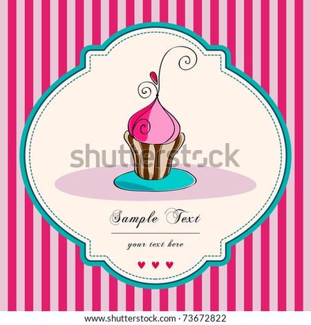 Illustration of cute retro cupcake on striped background - stock photo