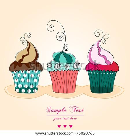 Illustration of cute retro cupcakes card - stock photo
