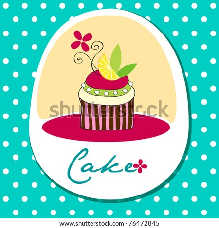 Illustration of cute retro wedding cake on striped background - stock photo