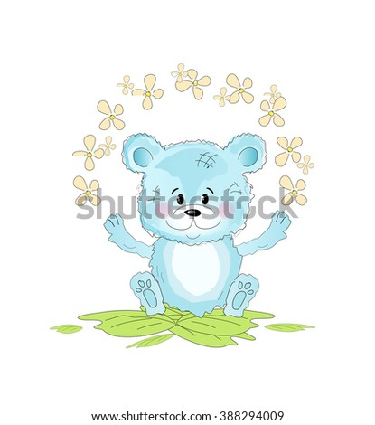 Illustration of cute small blue teddy bear with flowers