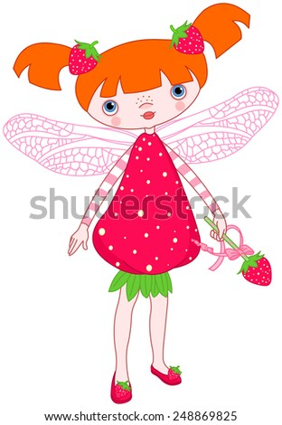 Illustration of cute strawberry fairy - stock photo