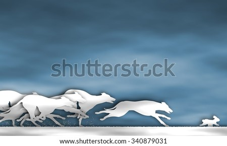 Illustration of cutout greyhound dogs racing around a track - stock photo