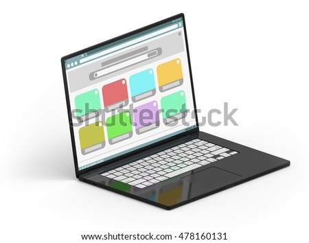 Illustration of 3D black isometric laptop with white buttons and color window frames inside