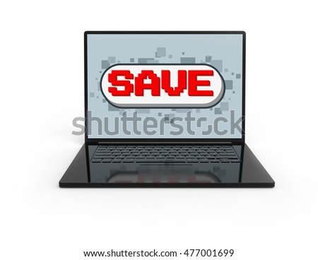 Illustration of 3D black laptop isolated with Pixel game save screen