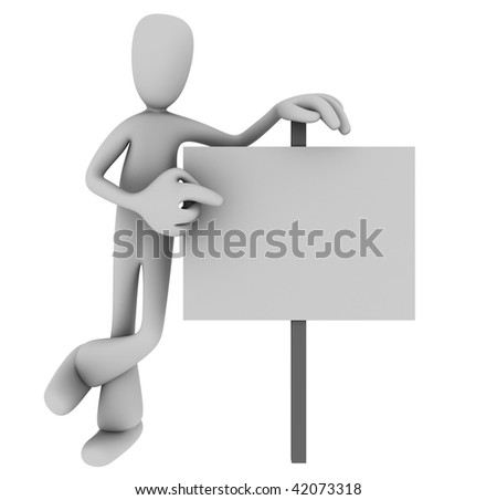 Illustration of 3D cartoon person casually pointing at blank sign against white background - stock photo
