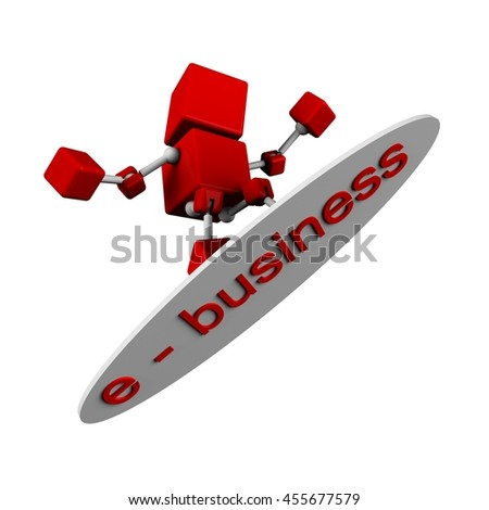 illustration of 3d character red cube surfing with surf board with  e - business word