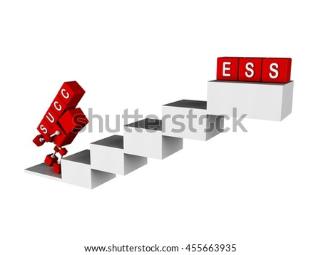illustration of 3d character red cube walking the stair carry a cube with succ word into the top to complete the success word - stock photo