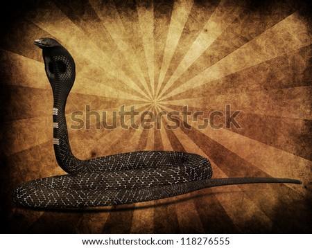 Illustration of 3d cobra snake on grunge background. - stock photo