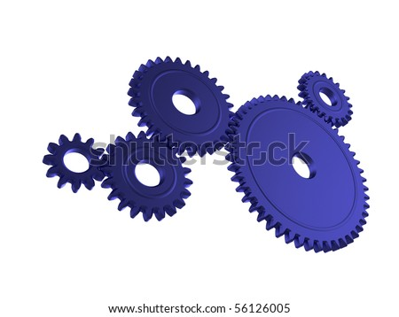 Illustration of 3d cogs working together - stock photo