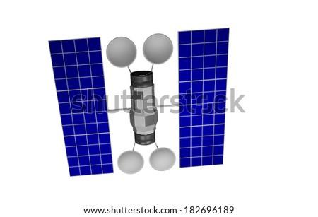 illustration of 3d communication satellite model against transparent background - stock photo