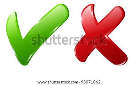 Illustration of 3d green check and red cross mark - stock photo