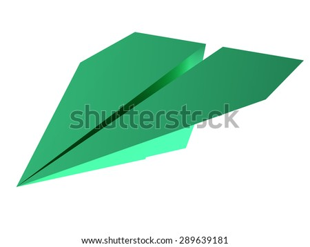 Illustration of 3d green paper plane isolated on white - stock photo