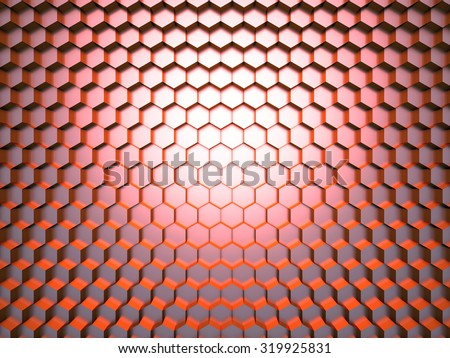 Illustration of 3d honeycomb background with cells - stock photo