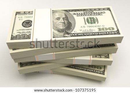 illustration of 3d image of bundle of dollar note - stock photo