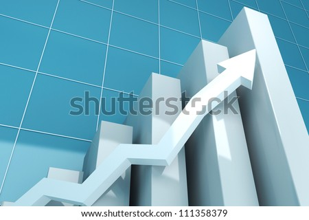 illustration of 3d image of business graph with growing arrow - stock photo