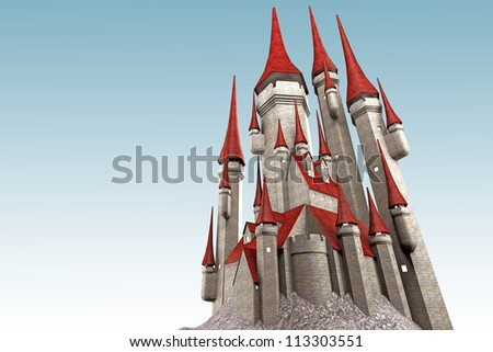 illustration of 3d image of castle against sky - stock photo