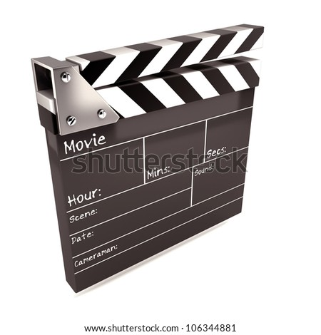 illustration of 3d image of clap board against white background - stock photo