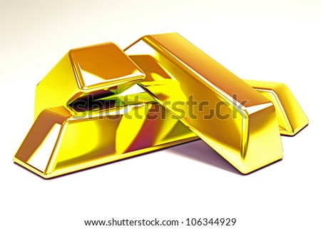 illustration of 3d image of gold brick against white background - stock photo