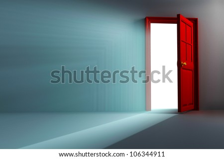 illustration of 3d image of light coming out open door - stock photo
