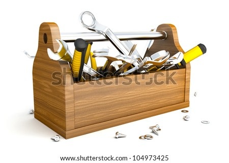 illustration of 3d image of toolbox with mechanical instrument - stock photo