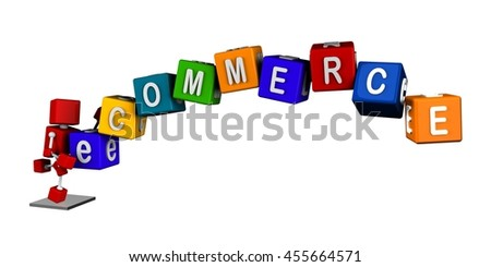 illustration of 3d red cube character carrying colourful cubes with ecommerce word horizontal, isolated white background - stock photo