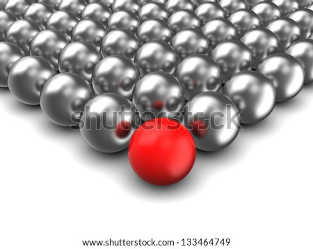 illustration of 3d spheres with one red