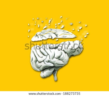 Illustration of damage to the brain - stock photo
