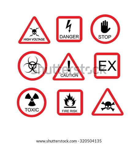 Illustration of danger sign, risk, dangerous situation,  warning sign - stock photo