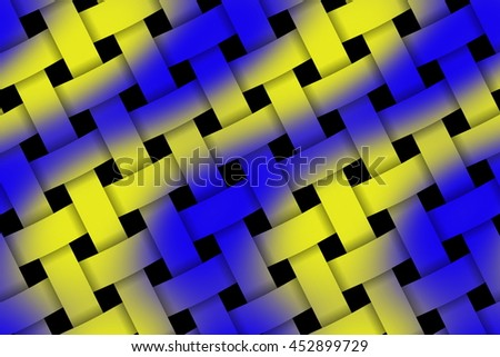 Illustration of dark blue and yellow weaved pattern - stock photo