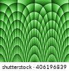 Illustration of dark monochromatic green abstract checkered texture with many twirled shapes with checkered pattern of repeating glowing boxes or blocks. Military color of aim - stock photo
