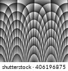 Illustration of dark monochromatic grey abstract checkered texture with many twirled shapes with checkered pattern of repeating glowing boxes or blocks - stock photo
