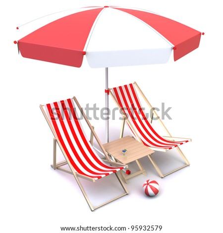 Illustration of deck chairs with table, umbrella and ball.