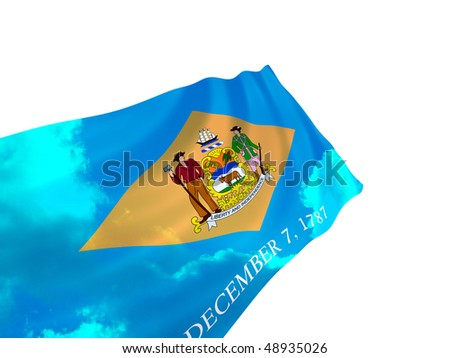 Illustration of Delaware state flag with sky, waving in the wind