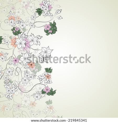 illustration of delicate flowers on a light background - stock photo