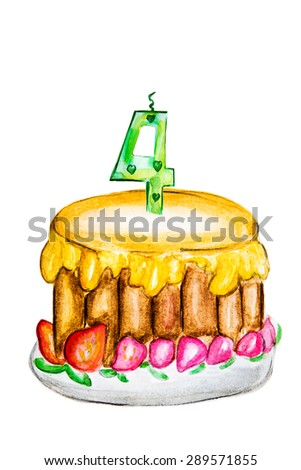 Illustration of delicious cake with numbers  - stock photo