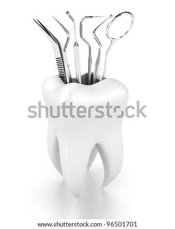 Illustration of dental tools in the white tooth - stock photo