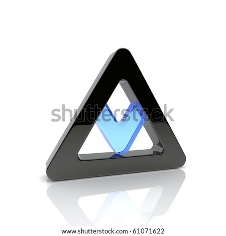 Illustration of design element with black and blue triangles - stock photo