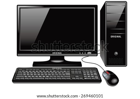 Illustration of Desktop PC. / The front. Standard design.