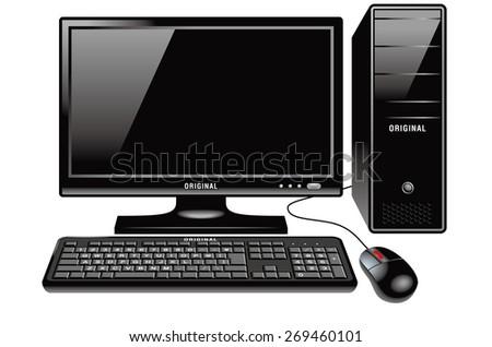 Illustration of Desktop PC. / The front. Standard design. - stock photo